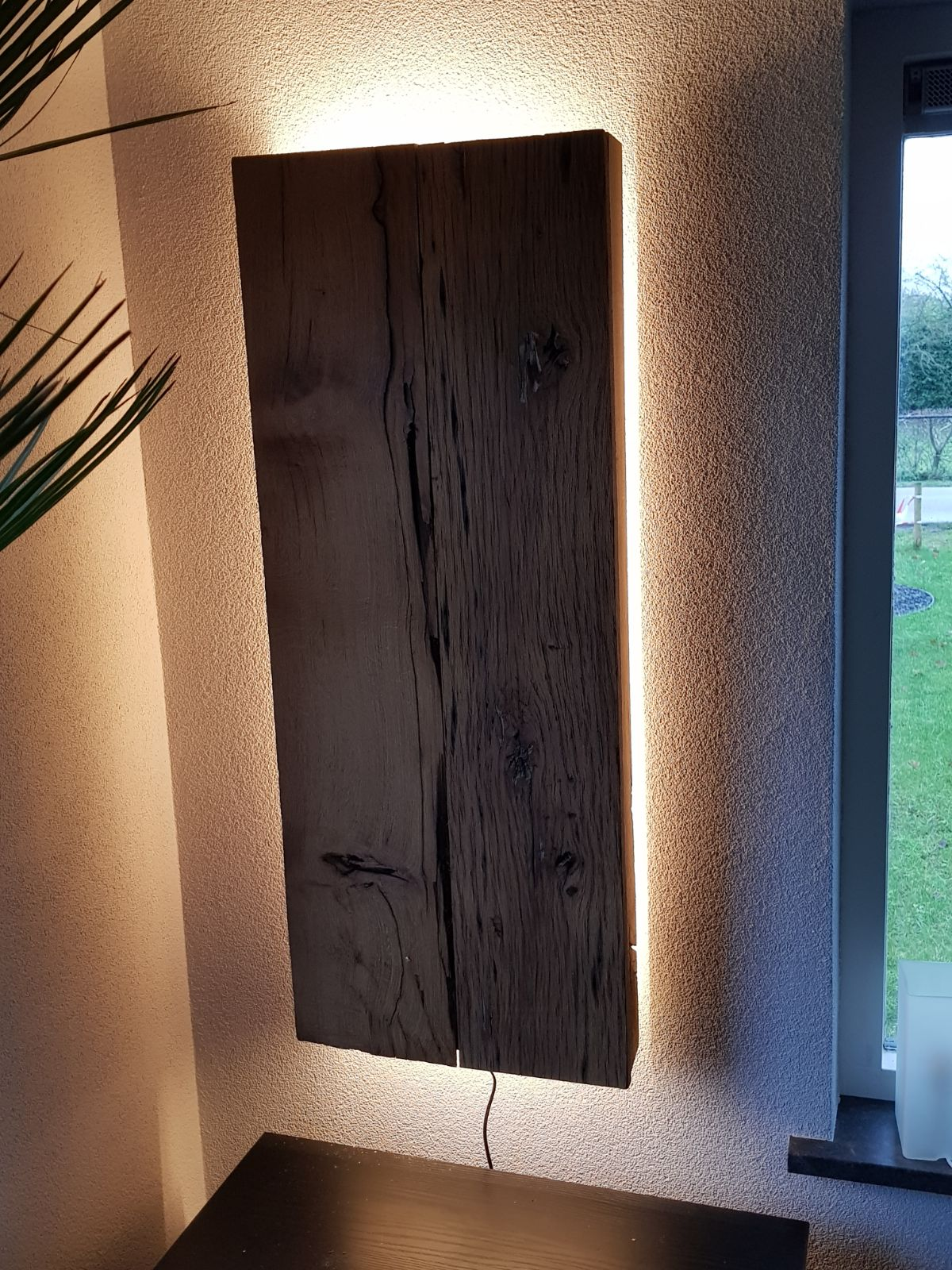 Houten wanddecoratie LED strip Warm Wit.jpg