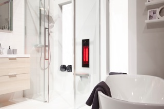 Sunshower Pure: eigen douche als infraroodcabine. Design in de badkamer met infraroodcabine Sunshower Pure.