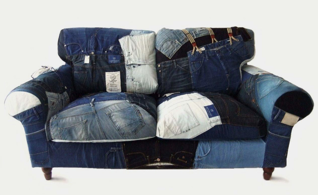 Sofa van Scotch & Soda jeans and pants. Made by Livd for Masimo Furniture.